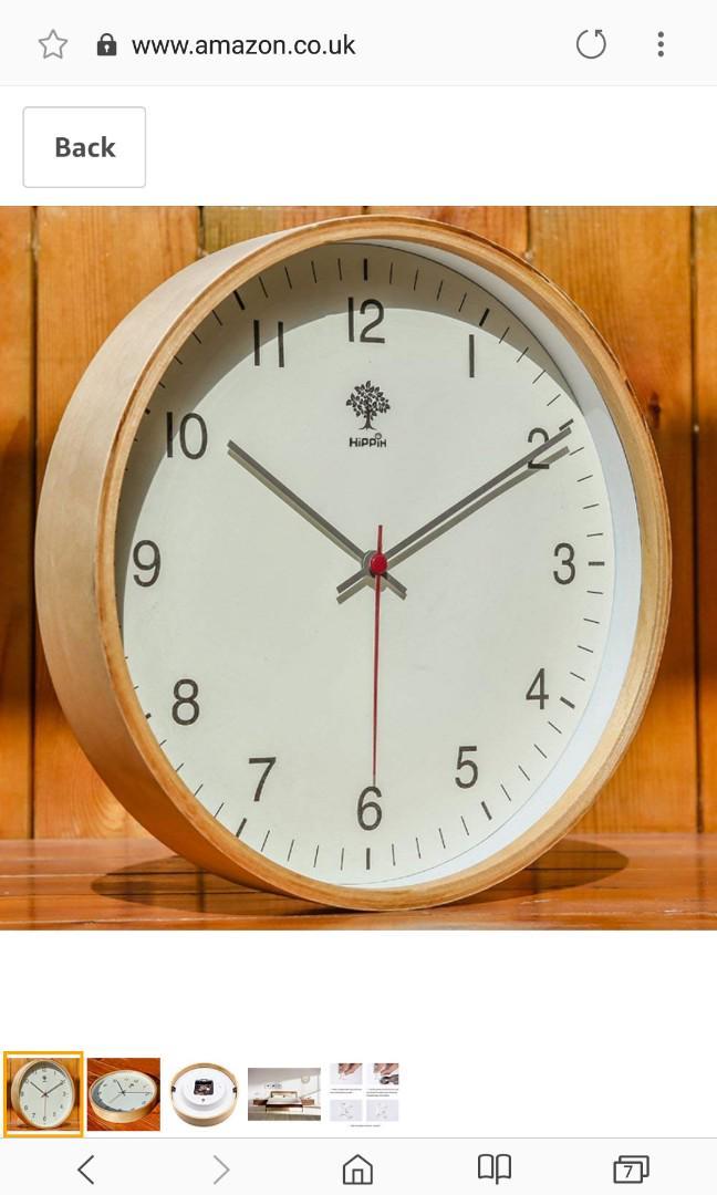 Hippih Silent Wall Clock Wood 12 Inch Non Ticking Digital Quiet