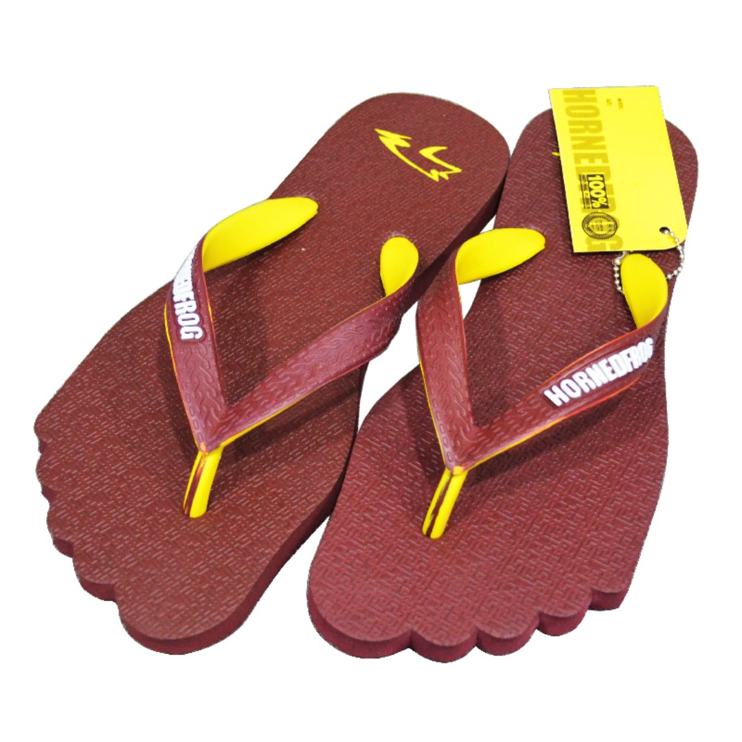 f196e38dc HornedFrog Foot Flip Flops for Men - Maroon, Men's Fashion, Footwear ...