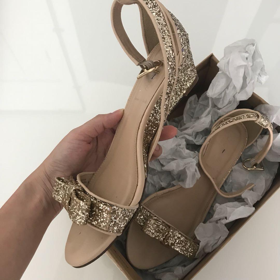 e1baa276df90 J crew gold glitter bow Low wedge heel shoes