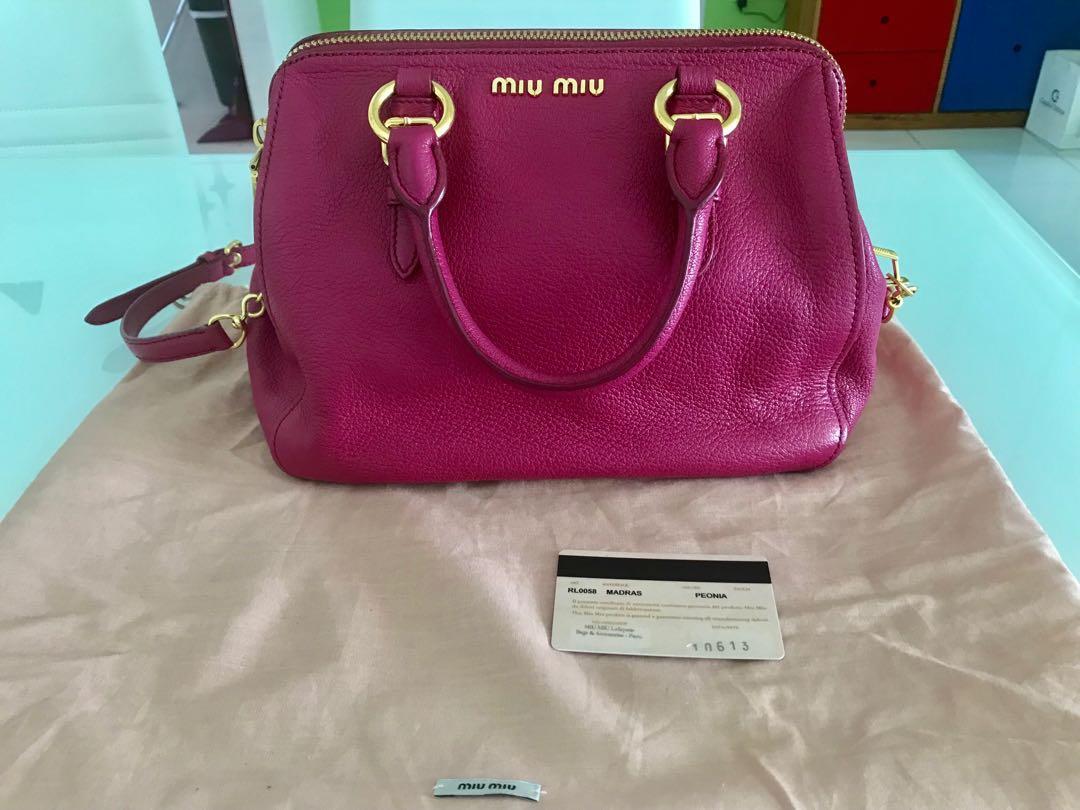 87bd569766 Limited Edition Miu Miu Fuchsia Pink Madras Doctor Bag