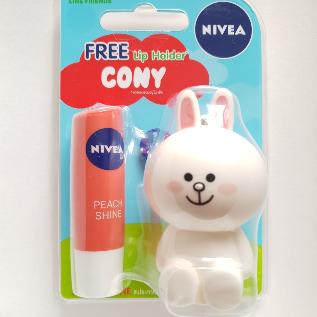 Line Friends Cony Nivea Lip Balm Peach Shine With Holder Butter Health Beauty Face Skin Care On Carousell