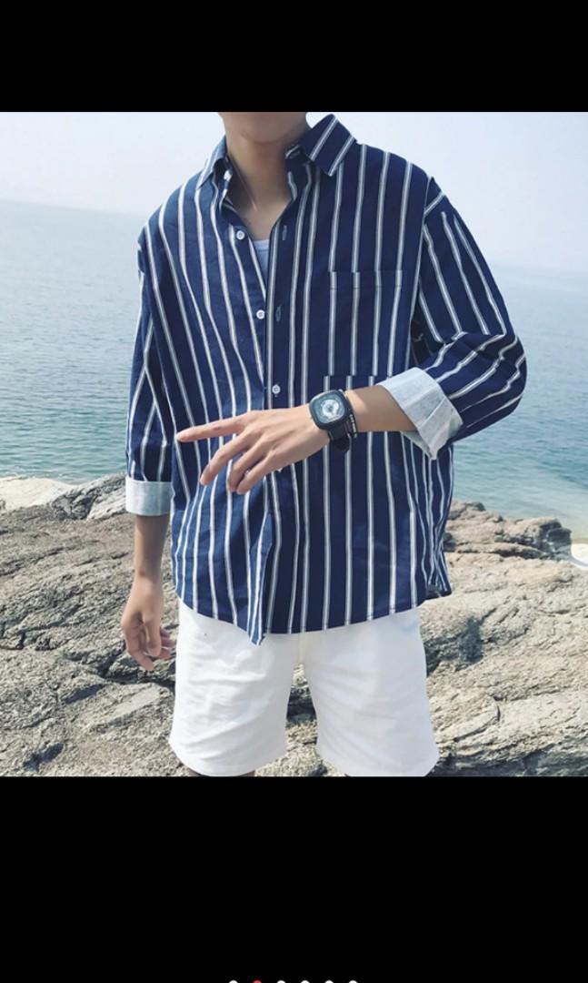 a720e0394 Men korean stripe shirt plus size 3xl long sleeve quality, Men's ...