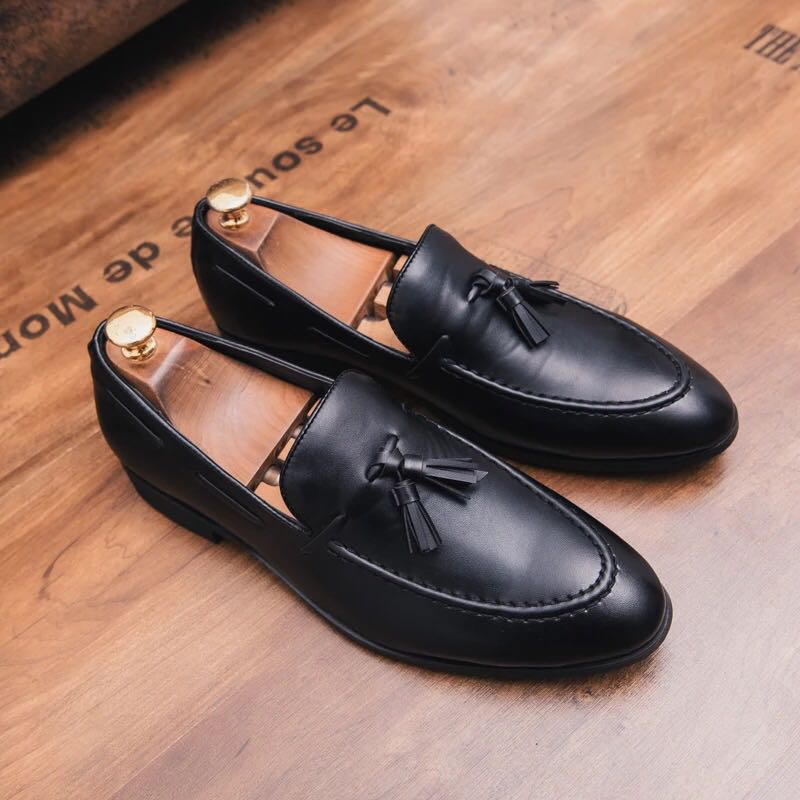 29b43f06645e1 Men s Korean Style Pointed Toe Tassels Loafers Shoes