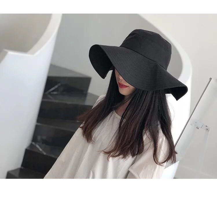 6d3da6951bbe Minimal Oversized Wide Brim Hat, Women's Fashion, Accessories, Caps ...