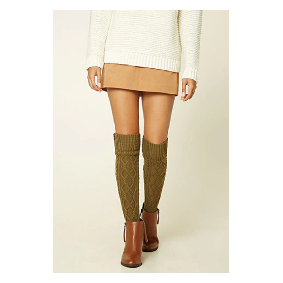 7a4e6dd7a85 Olive Cable Knit Knee-High Socks
