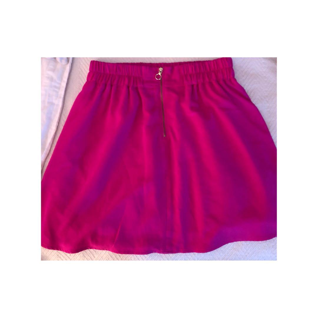 Pink Dynamite Skirt Gold Detail