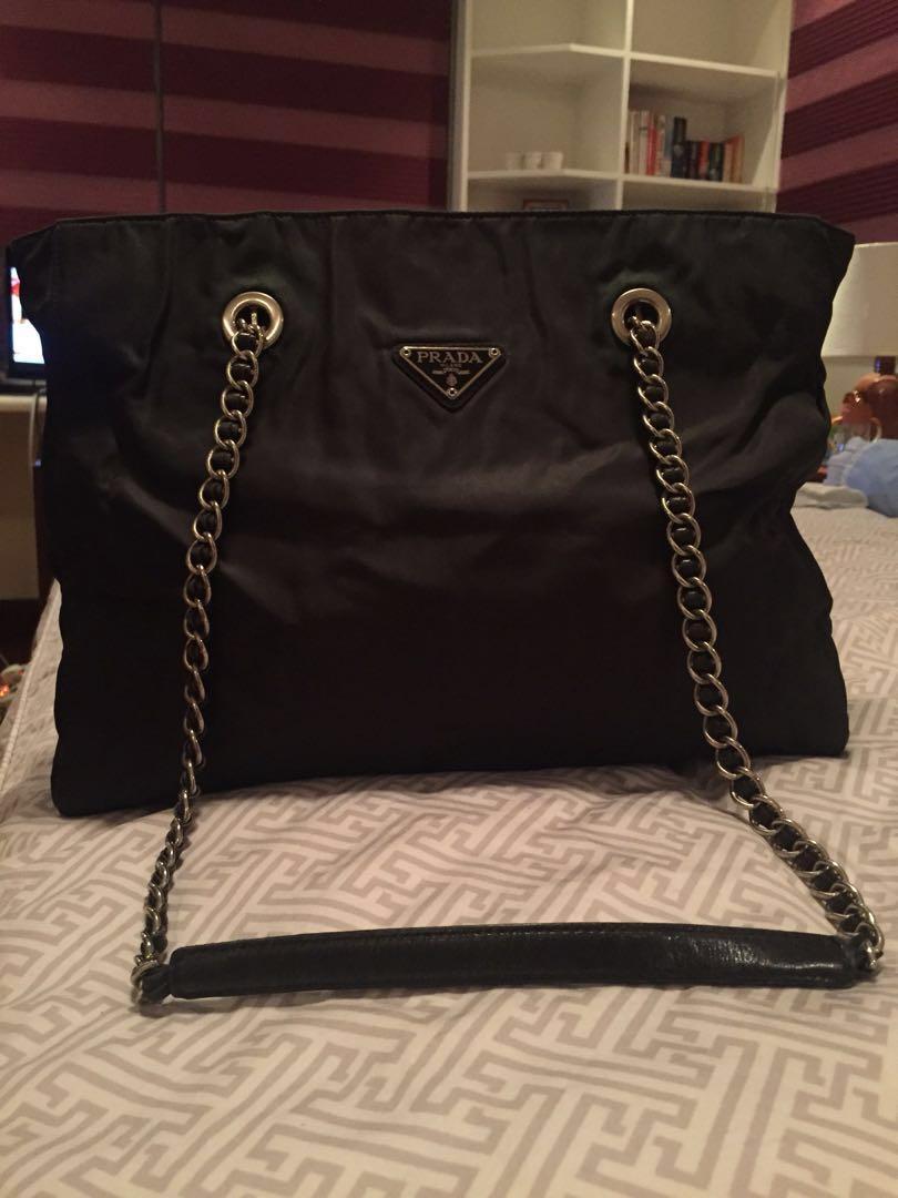 106a860ef848 Prada Tessuto Impunto Silver Chain Shoulder Bag