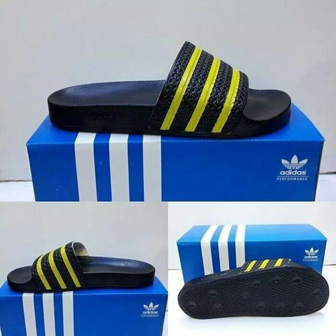 ea4e31859 Sendal adidas adilette black yellow stripe original BNIB, Olshop ...