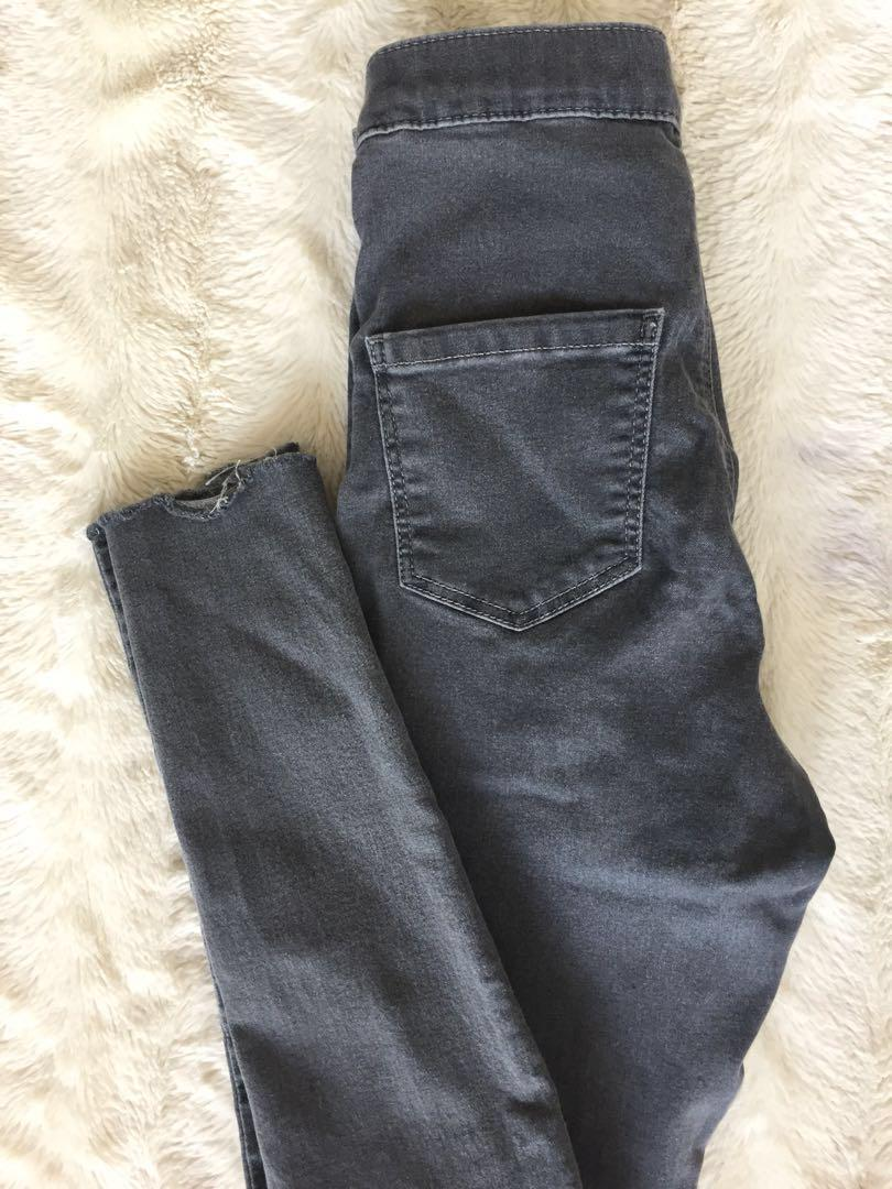 Topshop grey-wash Joni high-waisted jeans