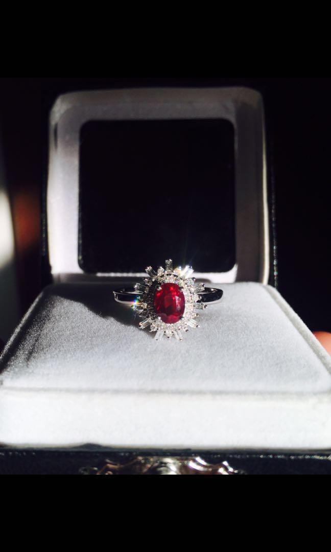 UNHEATED Pigeon Blood Ruby Diamond Ring