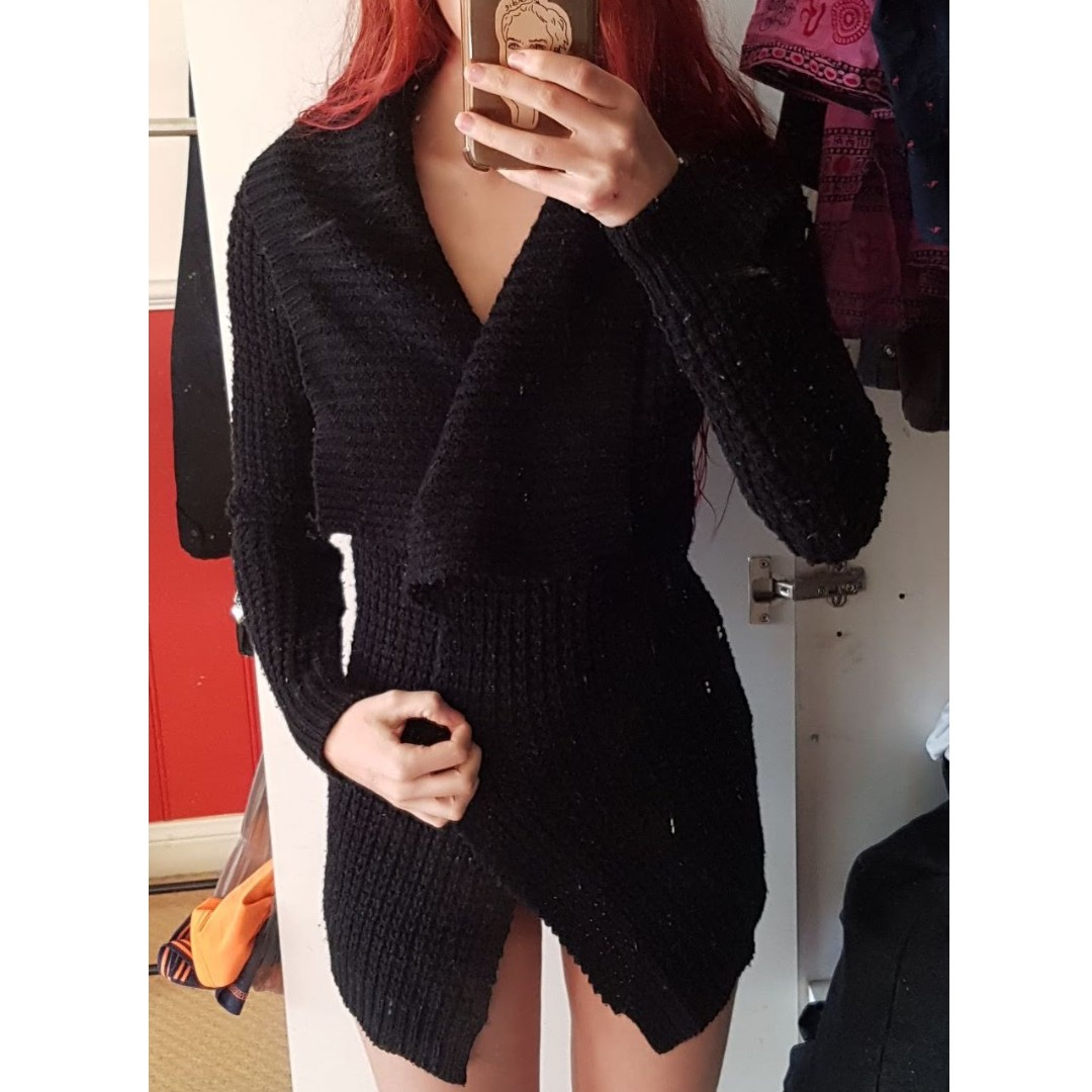 Womens Black Knitted Cardigan Size S