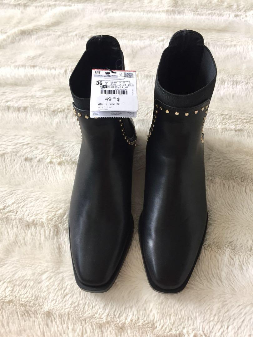 Zara Faux Leather Ankle Boot