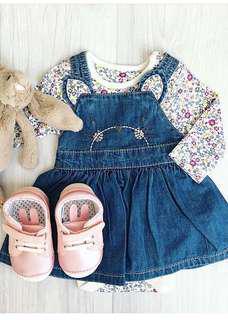 (New) Mothercare Denim Pinny Dress Floral Bodysuit Set