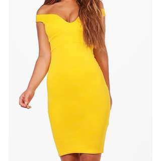 Bohoo Petite Yellow Dress Gown
