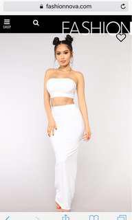 Fashion Nova White Maxi Skirt Set S