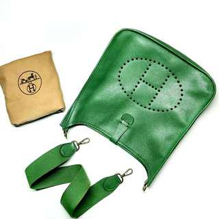 Authentic HERMES Evelyne I GM 33cm Vintage Circle Y Stamp GREEN Courchevel Leather