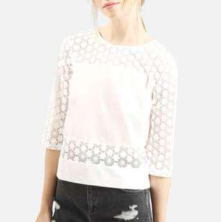Topshop Lace Panel Top