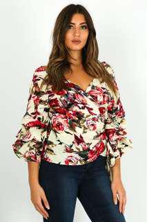 Floral Prints Ruffle Sleeve Wrap Top