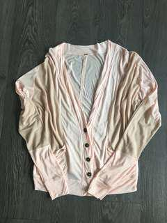 Free People Light Cardigan Pink and Beige Size Small