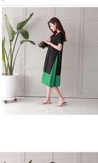 🚚 正韓短袖洋裝 側身拼接 黑X綠