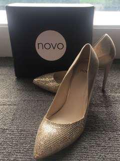 Novo Gold Glitter Heels