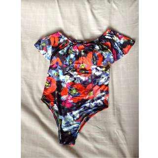 Floral Off Shoulder 1-piece swimsuit