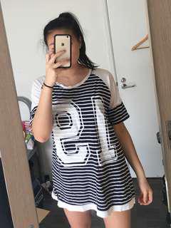Navy+White stripe Tshirt dress
