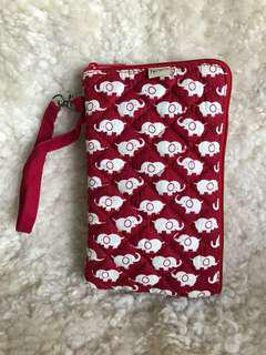 Elephant printed vertical makeup pouch