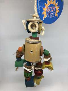 Robot Bamboo Hanging Chew Toy for Parrots