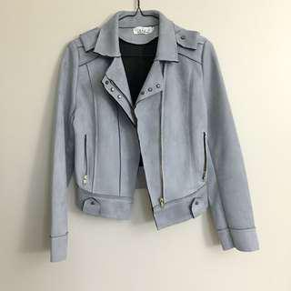 Grey Suede Leather Jacket