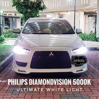 Mitsubishi Lancer EX with HB4 philips diamondvision white halogen car headlight bulbs + installation. Not Osram.