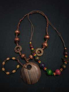 Kalung+gelang kayu Bohemian