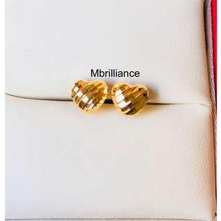 Shining Stripe cut hearts earstuds  916 Gold by Mbrilliance