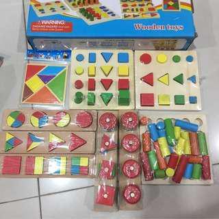 8 Sets Montessori Teaching Aid Wooden Toys