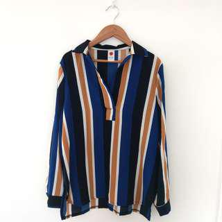 🚚 韓版 雪紡垂墜條紋襯衫