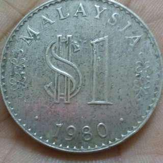 Old Coins 1980 Malaysian $1