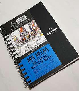 """Instock: Canson Artist Series Mix Media Paper Pad Side Wire Bound 5.5 x 8.5 """" (30 Sheets )"""