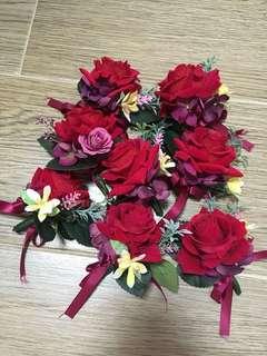 結婚 婚禮 絲花 襟花 玫瑰 紅色系