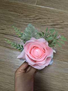 結婚 婚禮 襟花 玫瑰 粉紅色 森林系