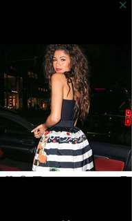 Black White Stripes Skater Dress