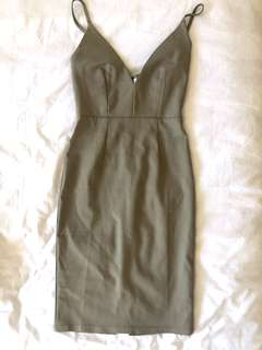 Khaki midi dress size 6
