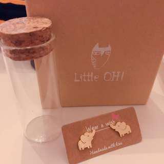🚚 Little OH手工大象耳環