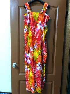 🚚 60年代古著後開衩長洋裝