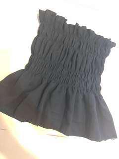 🚚 黑色平口傘襬上衣