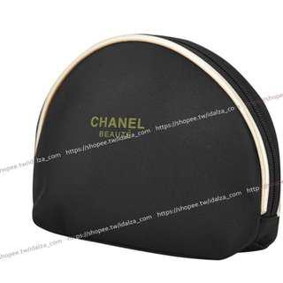 Idalza* 雅緻 緞面感 黑色 金邊 立體 半月型 防水 化妝包 零錢包 收納包 隨身包 (特價)