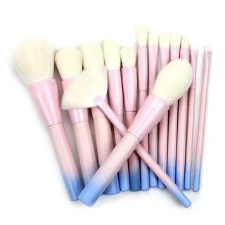 14pcs Unicorn Gradient Blue Makeup Brush