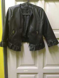 Faux Leather Jacket with Frilled Sleeves