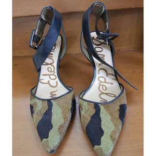 SAM EDELMAN Okala Calf Hair & Leather Ankle Wrap Pumped Olive/Black Camo