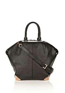 ALEXANDER WANG EMILE TOTE LARGE IN PEBBLED BLACK WITH ROSE GOLD