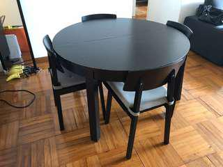 IKEA extendable dining table with 4 chairs